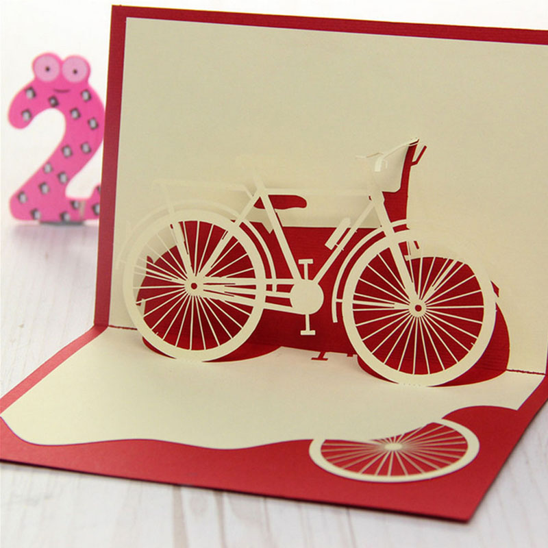3d pop up origami paper laser cut greeting cards creative handmade bicycle birthday christmas anniversary souvenirs postcards in cards invitations from - Laser Cut Christmas Cards