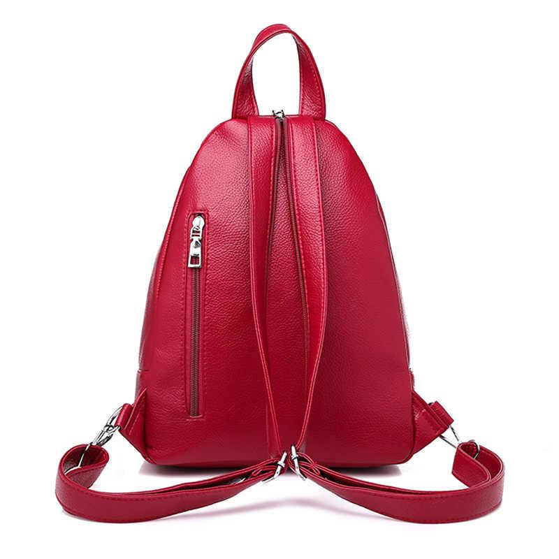 Wanita Ransel Desain Kualitas Tinggi Kulit Wanita Tas Fashion Tas Sekolah Gadis Merah Bagpack Rumbai Tas Multifungsi Tas Tahan Air