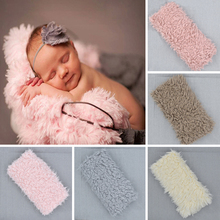 цена на Newborn Photo Props Faux Fur Blanket Baby Photography Backdrops Background Fleece Blanket Swaddle Wraps Bedding Props D20