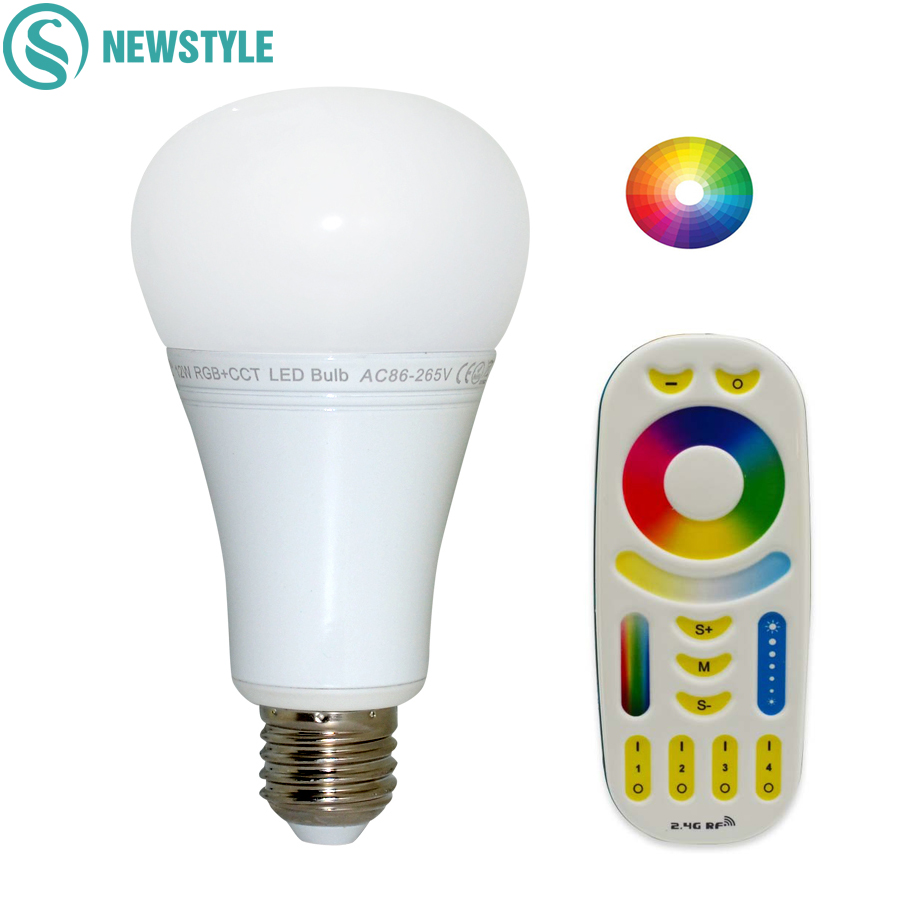 12W Mi Light LED Bulb E27 Dimmable LED Bulb Light RGB + Warm White + White (RGB+CCT) Spotlight Indoor Decoration