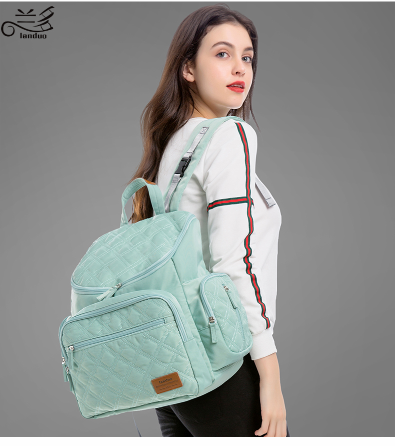 Authentic LAND Mommy Diaper Bags Mother Large Capacity Travel Nappy Backpacks with anti-loss zipper Baby Nursing Bags dropship
