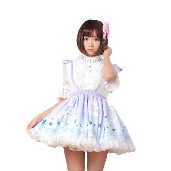 ROLECOS Sweet Lolita Strap Skirts For Girls Cute Running Horse Printing Short Skirt Women High Waist Suspenders Skirt Female 2