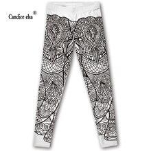 CANDICE ELSA women leggings elastic fitness legging elephant print leggins workout female pants plus size