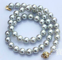 stunning8.5 9mm Akoya silver grey pearl necklace 18inch