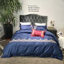2018 Deep Blue Floral Border Bed Cover Embroidery Egyptian Cotton Bedding Sets Queen King Size Duvet Cover Set Bedsheet king size 400 thread count 100% egyptian cotton 16 deep pocket tailored bedskirt striped blood red created by pearl bedding