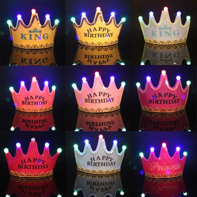1set Birthday Party Hats Crown Headwear Decoration For Children Luminous Cap Birthday Layout Decoration Supplies 6ZDZ63