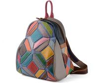 2018 Color Block Genuine Leather Lady S Backpack Patchwork Women S Casual Bag Personality Cowhide Leather