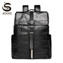 Scione Vintage Male Leather Backpack Retro Men's PU Backpacks Laptop Business Back Pack Boys School Bags Casual Travel Backpack