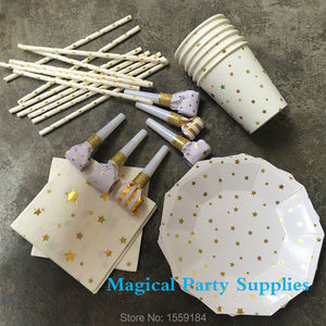 24 Peoples Tableware set White & Gold Star Paper Straws Cups Hexagon Plates Napkins Blower for First Birthday Baby Shower Party