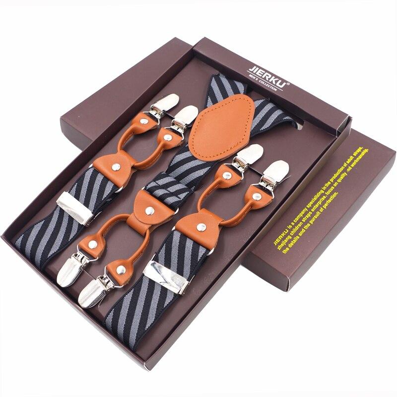 Men's Suspenders Casual Fashion Leather Braces 6 Clips Suspensorios Adjustable Belt Strap High Quality Tirantes 3.5*120cm 2019