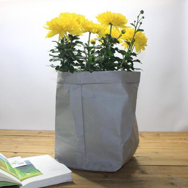 Washable Kraft Paper Storage Bag Plant Flowers Pot Multifunction Folding Tear Resistant Household Sundries Organizer Pouch Reuse