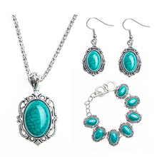 Free Shipping Retro Antique Silver Plated Necklace Bracelet Earrings Turquoise Jewelry Sets