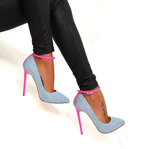 Hot Selling Denim Blue High Heel Shoes Sexy Pointed toe Ankle Strap Woman Pumps 2017 Newest Pink Stiletto Heel Thin Heels Shoes