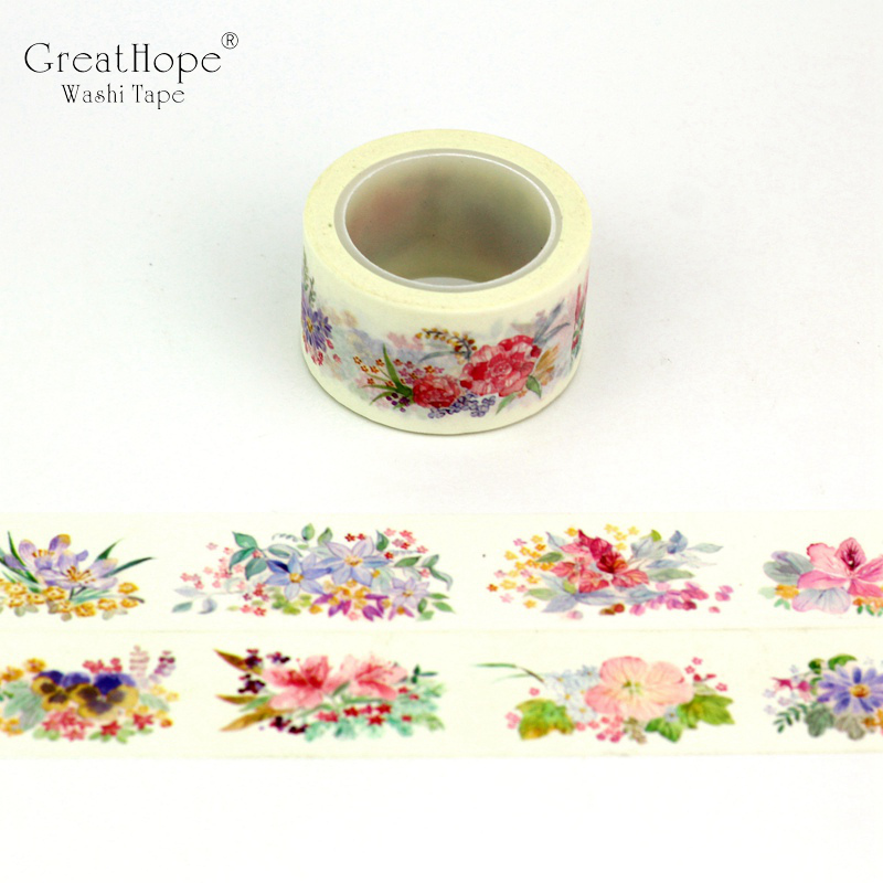 25mmx10m Watercolor Flower Washi Tape Paper Decor 15mmx10m Green Plant Purple Masking Tape For Craft Bujo Planner Scrapbooking