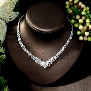 Image 4 - Hibride zircão do vintage conjunto de jóias brilhando pedra cúbica grande casamento nupcial e aniversário 4 pçs colar conjunto de jóias N 178