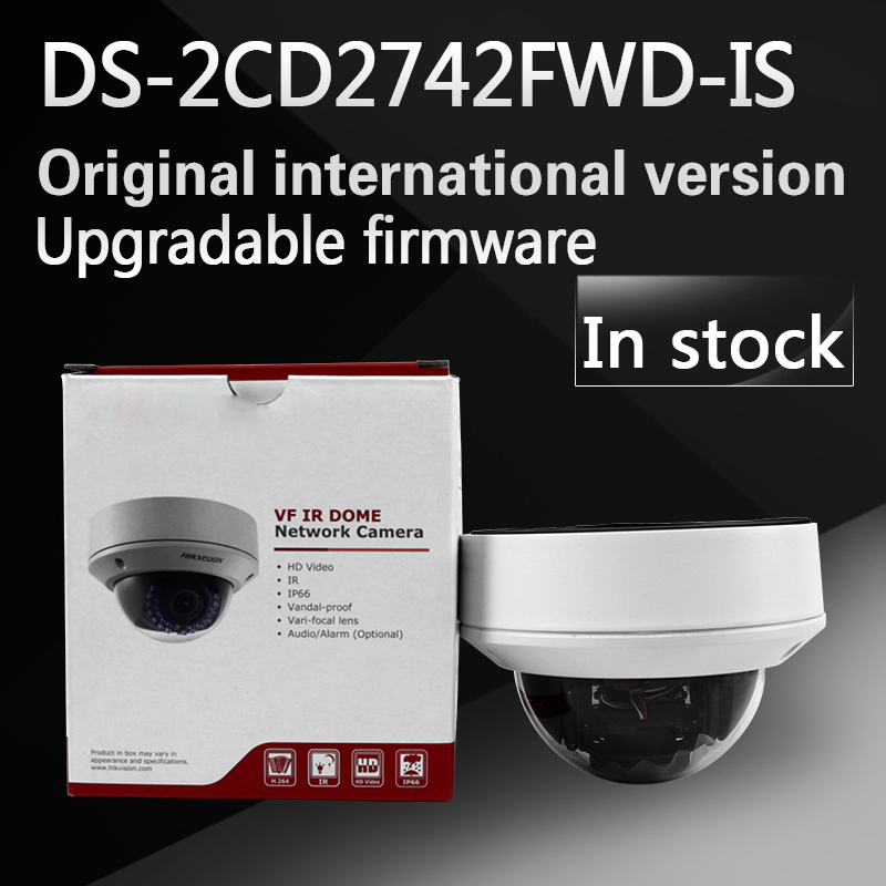 In stock Free shipping english version DS-2CD2742FWD-IS  Audio, 4MP WDR Vari-focal Dome Network Camera free shipping in stock new arrival english version ds 2cd2142fwd iws 4mp wdr fixed dome with wifi network camera