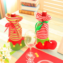 Hot Cute Stocking Gift Holder Christmas Elf Wine Champagne Cover Christmas Elf Bags Socks Party  Christmas Decoration for Home