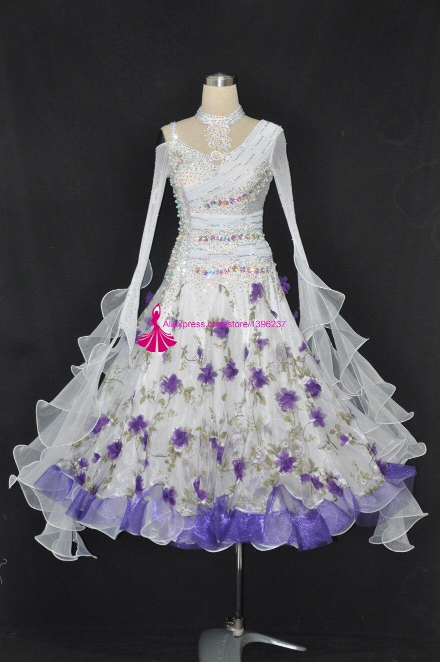 Костюмы для бальных танцев юбка для танцев для Для женщин блестящие шоу Стандартный вальс Современная конкуренция Танцы костюм Костюмы для...