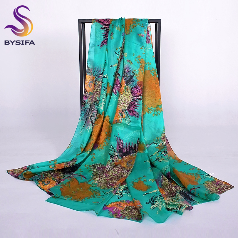 [BYSIFA] Winter Green Silk   Scarf   Shawl Ladies Fashion Large Long   Scarves     Wraps   Women Large Summer Beach Cover-ups Cape 200*110cm