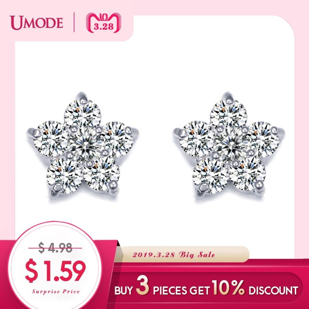 a88ee3341 UMODE Classic Austria Cubic Zircon Crystal Five Petals Flower Tiny Cubic  Zirconia Elegant Stud Earrings for Women UE0080-in Stud Earrings from  Jewelry ...