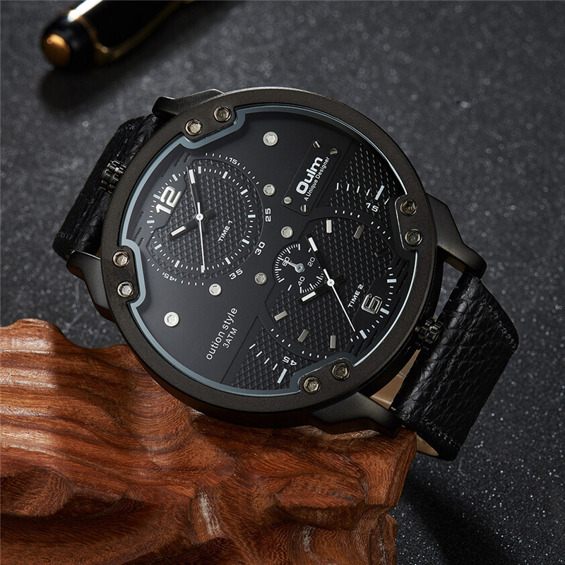 Oulm Luxury Brand Big Watch Male Two Time Zone Men's Casual Sports Watches Large Dial Leather Men Wristwatch Reloj Hombre
