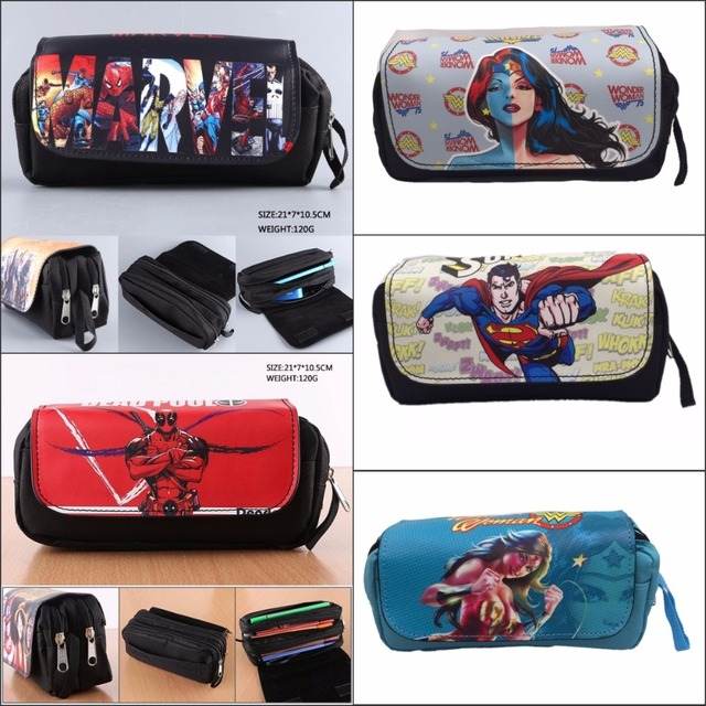 e7b818953cab US $9.46 5% OFF|Deadpool Superman Wonder Woman Spider Man pencil bag Double  Pencil bag Stationery Cosmetic Make up Bags Cases 8 style-in Cosmetic Bags  ...