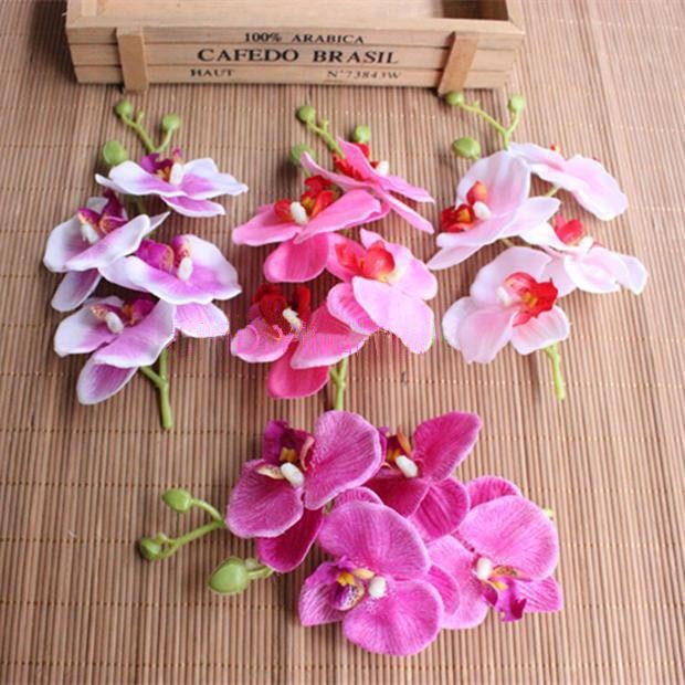 Length19cm 4heads Pcs Real Touch Silk Phalaenopsis Orchids With Green Stems Artificial