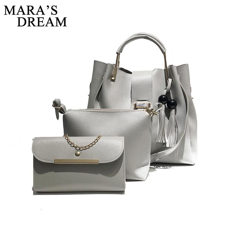 Mara's Dream 2018 Fashion Crossbody Bags For Women Leather Handbags Shoulder Bag Female Soft Solid Bag Women Messenger Bags Set 5
