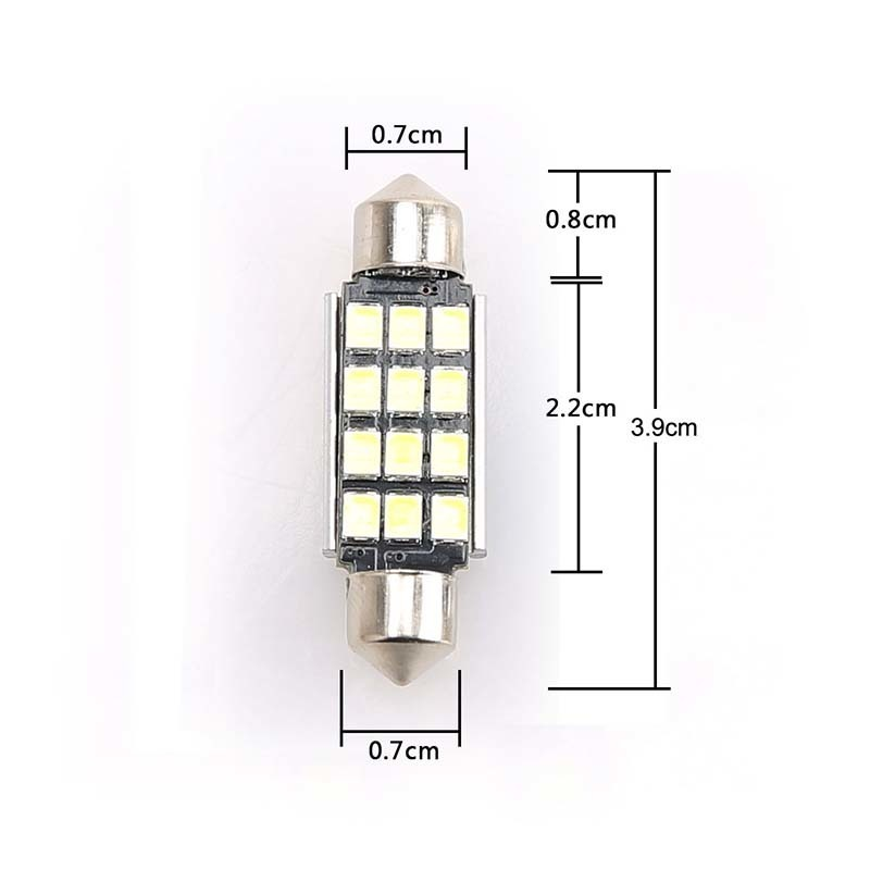 2pcs 12smd C5W LED 39mm Bulbs C10W C5W 2835 Festoon Mirror Dome Reading Light Door Number Lamp Car Interior Light LED 12V 24v DC