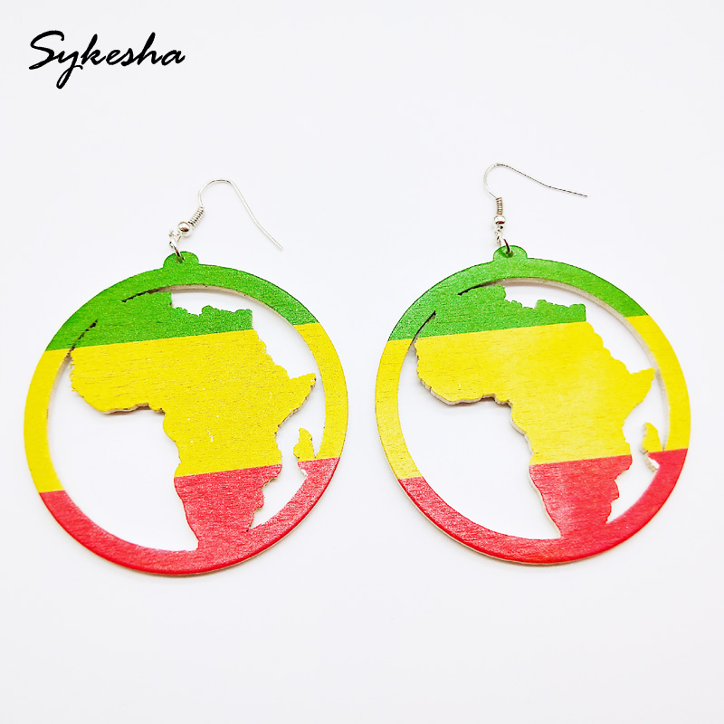 10 Pairs African Map Wooden Earrings Ethnic Style African Round Earrings Multicolor Earrings for Women