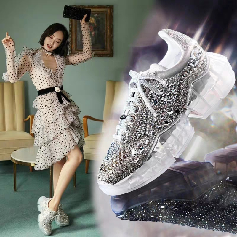 Fashion 2019 Spring Crystal ins Net Hot Shoes Woman Rhinestone Women Casual White Shoes Transparent platform Shoes Zapatos Mujer 4