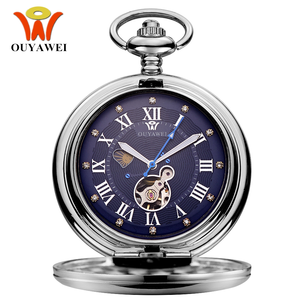 New OYW Hand Winding Mechanical Steampunk Men Pocket Watch Blue Skeleton Dial Steel Necklace Pendant Fashion Chain Fob Watches
