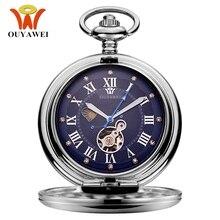 Novo oyw mão corda mecânica steampunk masculino relógio de bolso azul esqueleto dial aço colar pingente moda corrente fob relógios