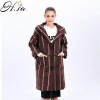 H SA 2017 Women Winter Clothing Long Hooded Woolen Coat Single Breasted Horns Long Coat Vintage