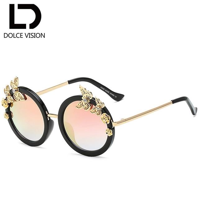 DOLCE VISION Butterfly Rhinestone Women Sunglasses Round Black Shades Lunette  Femme 2018 Elegant Ladies Brand Designer 36a5bba4a26d