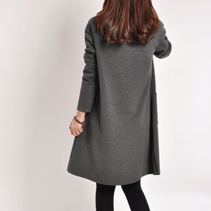Image 5 - יולדות בגדי סתיו החורף חמוד V צוואר מוצק צבע לעבות החוצה משרד שמלת נשים בהריון הריון בגדים