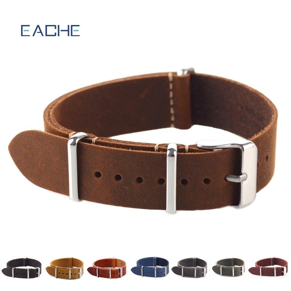 EACHE Vintage de alta calidad de cuero genuino de la OTAN reloj correas correa para reloj militar mm 18mm 20mm 22mm venta al por mayor