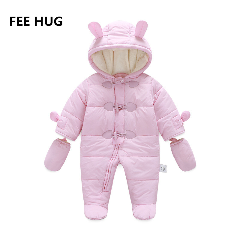 FEE HUG 2017 Winter Baby Clothes Newborn Baby Boy Girls Fleece Rompers Toddler Girls Horn Button One-Piece Overalls Kids wear 2017 new fashion cute rompers toddlers unisex baby clothes newborn baby overalls ropa bebes pajamas kids toddler clothes sr133