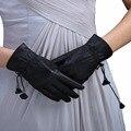Ursfur sólidos guantes manoplas adultos mujeres del cuero genuino verdadero nuevo espectáculo vestido otoño invierno dedo completo guante de conducción transpirable