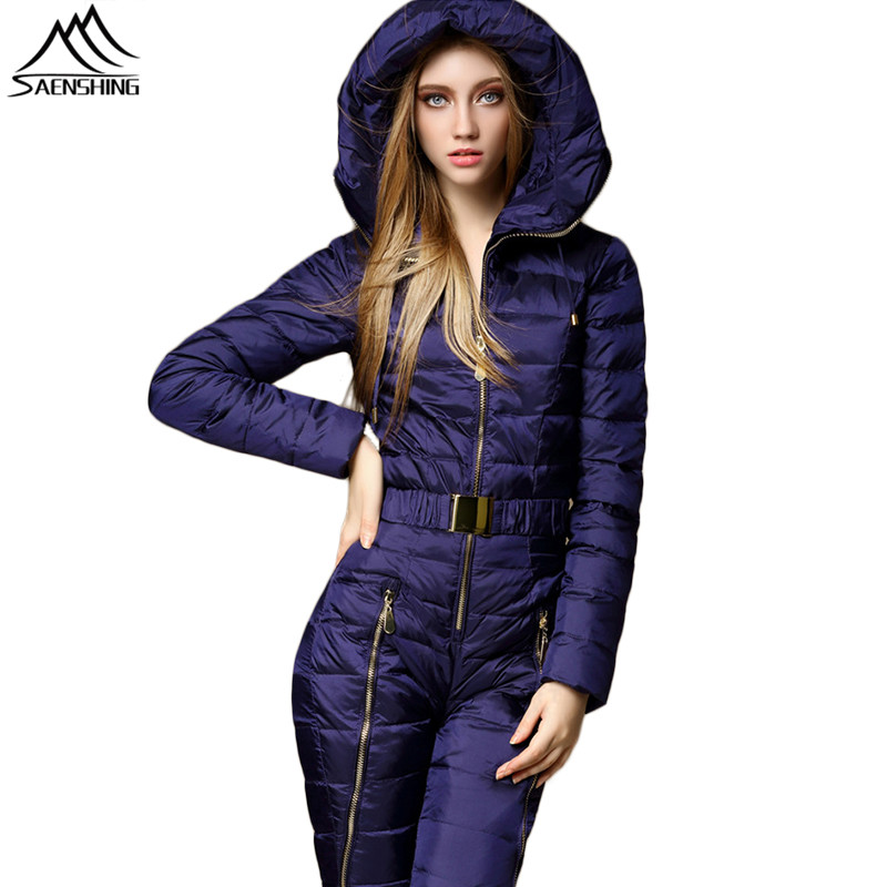 SAIGNEMENT une pièce Montagne Ski Costume Femmes Duvet de Canard Chaud Ski Costume D'hiver veste de Ski Respirant Neige D'hiver En Plein Air Costumes