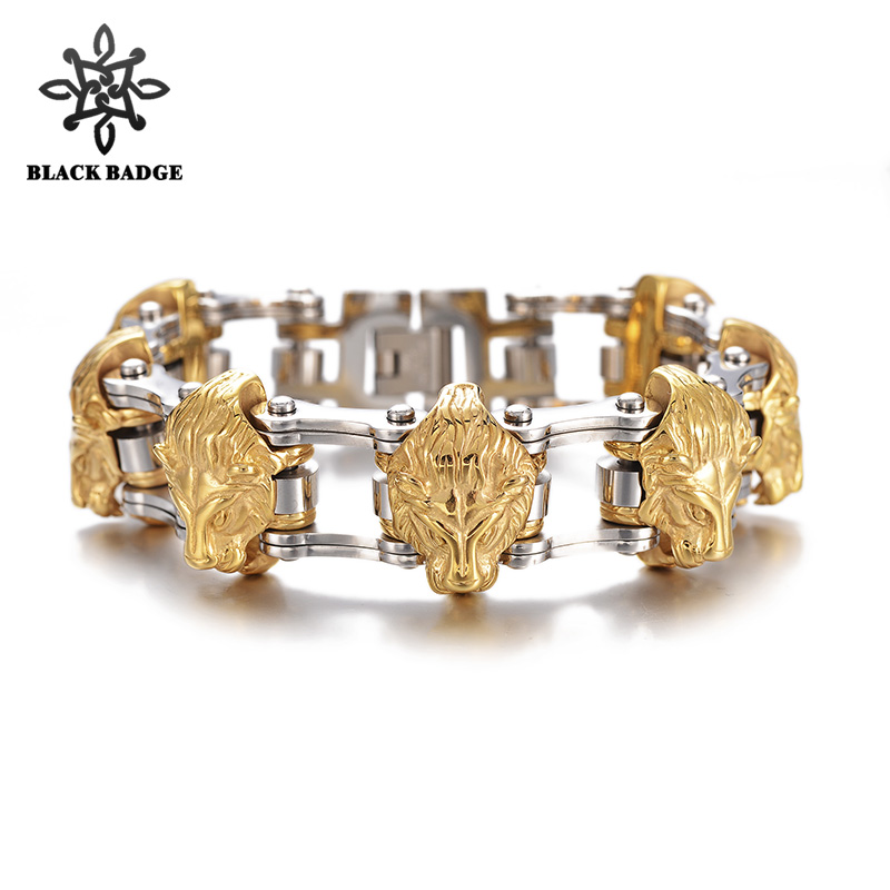 Hip Hop Jewelry Gold Lion Heads Motorcycle Link Men Bracelet 316L Stainless Steel Bracelets Bangle Gold Color Stainles