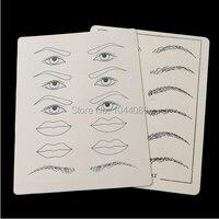 5 sets, 2 vellen/set Hoge KWALITEIT Synthetische Flexibele Wenkbrauw Lippen Tattoo Designs Praktijk Fake Skin Body Art Gratis Verzending
