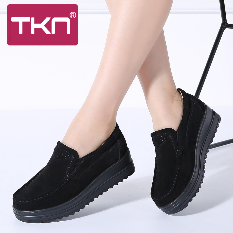 TKN 2019 Spring Women Flats Platform Loafers Sneakers Shoes   Leather     Suede   Slip on Creepers Casual Moccasins Woman Shoes 8714