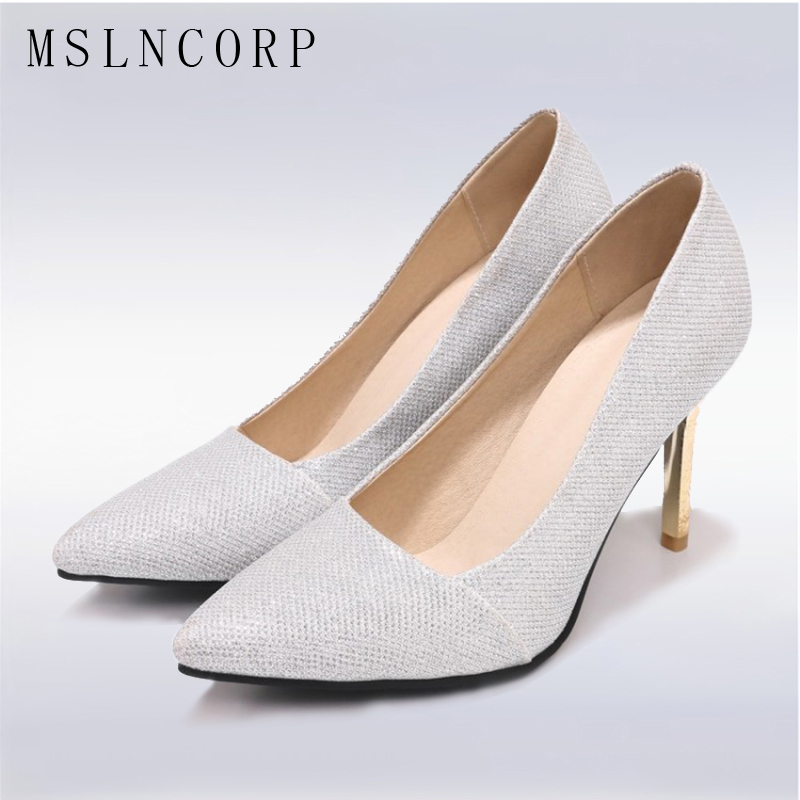 plus size 34-48 New Thin High Heels Women Pumps Woman Sexy Fashion Dress Pointed Toe Ladies Stiletto slip on party wedding Shoes high heels women pointed toe pumps fashion glitter thin heel shoes woman sexy wedding party heeled footwear shoes size 34 47