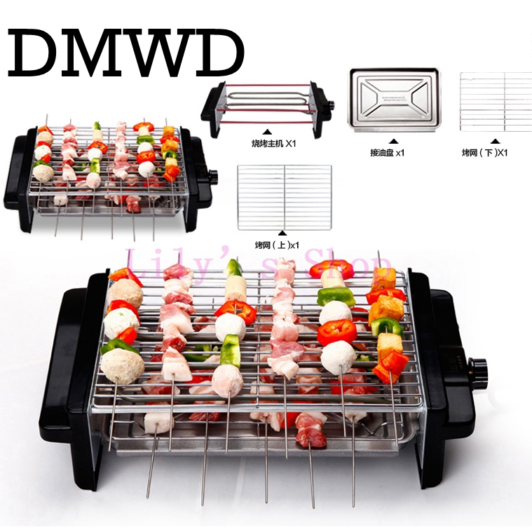 DMWD Electric grill Stove Smokeless household Oven Barbecue Cooker BBQ kebab machine 2 two layers hotplate pan teppanyaki heater Гриль