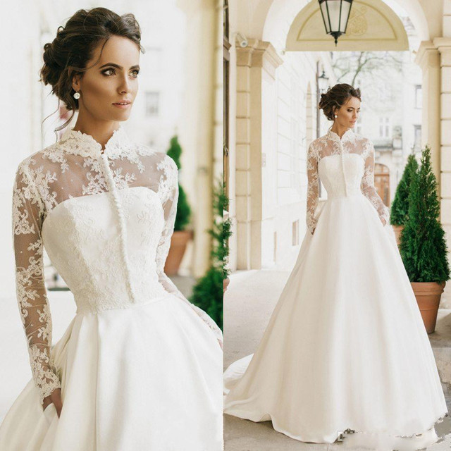 Vintange Wedding Dresses With Jacket Princess 2017 High Neck Lace Beaded Appliques Long Sleeve Bridal Gowns