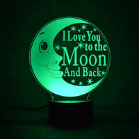 Oobest Rechargeable 3D Creative Dreamy Night Light 7 Color Change Bedroom Bookcase LOVE Moon Night Light