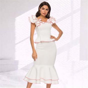 2019 Fashion Two Piece Sets Summer Women Blouses Tops with Skirts Ruffles Office Elegant Classy Modest Female Party Slim Jupes
