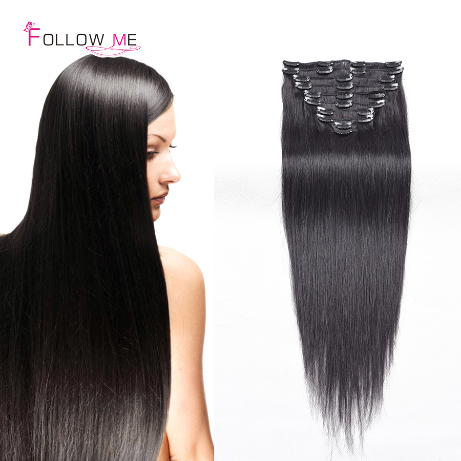 Follow Me Human Hair Clip In Extensions 1B African American Clip In Human Hair Extensions Clip