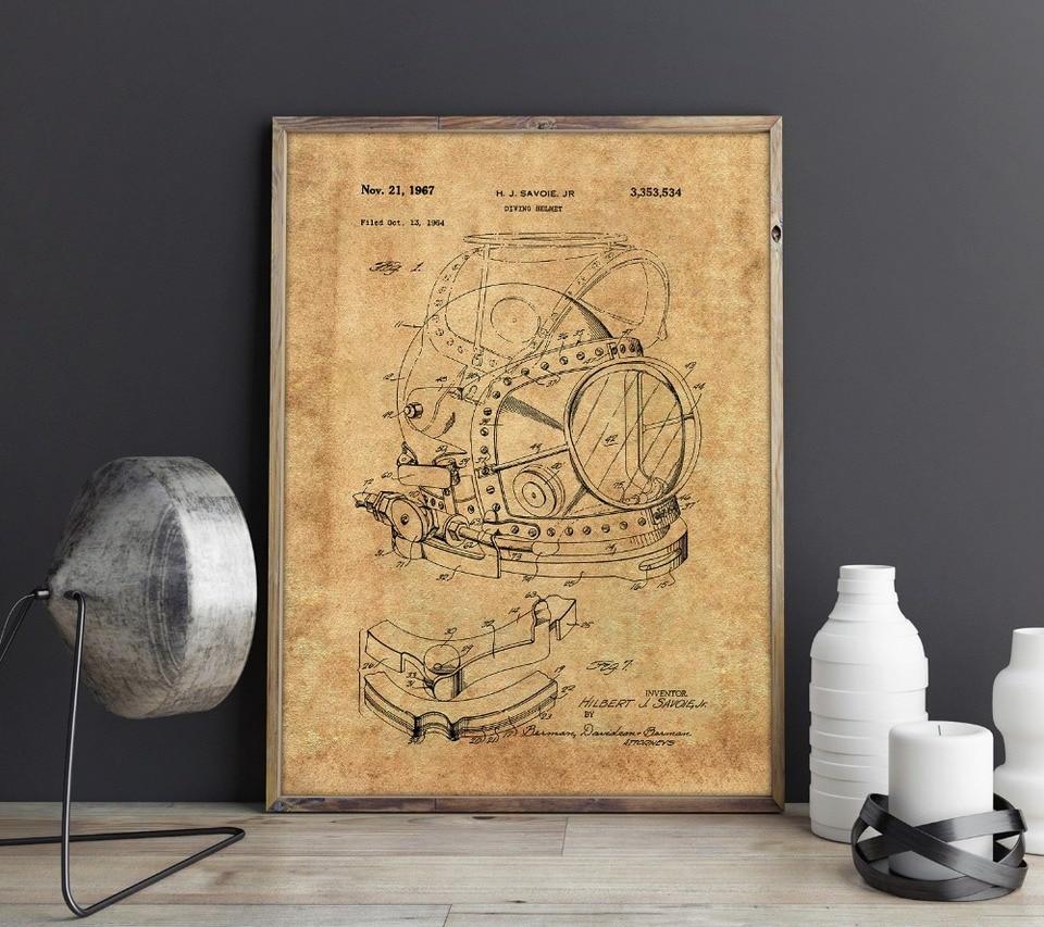 Diving Helmet Patent Print Blueprint Decor Vintage Poster Wall Art Gift